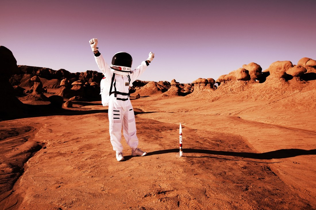 excited man on mars
